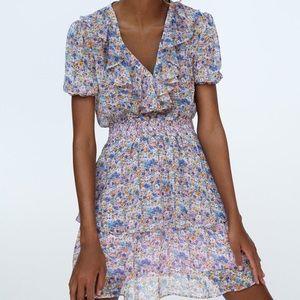 NWT ZARA Floral Printed Mini Dress Multicolored XL